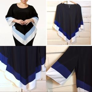 Alfani Asymmetrical Poncho Colorblock Blouse